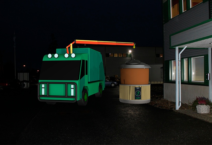 Lift based emptying method is silent, the emptying is thus possible also at the night time.