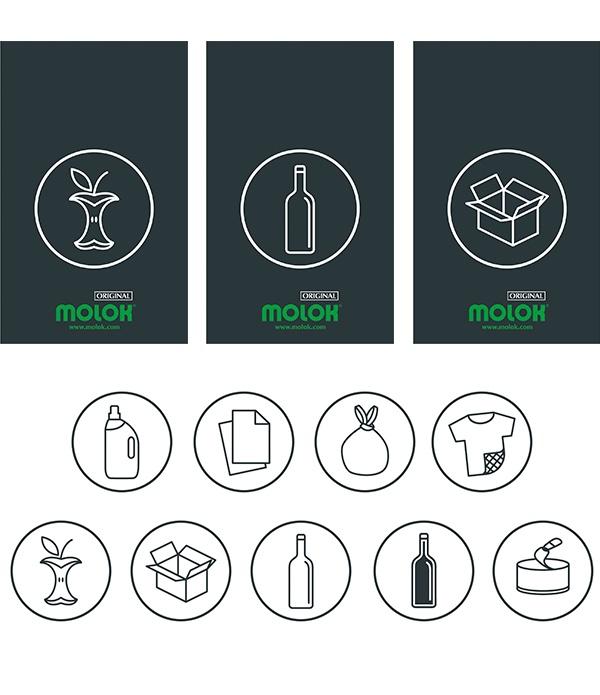 Avfallstypsskylt med symbol MOLOK