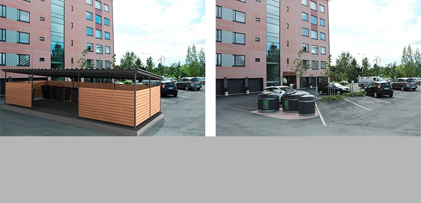 Molok -containers don't need hedges or sheds. You get more space for other purposes, like for parking places.